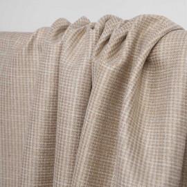 Tissu tissé nougat et blanc à motif pied de poule et fil lurex or | Pretty Mercerie | Mercerie en ligne