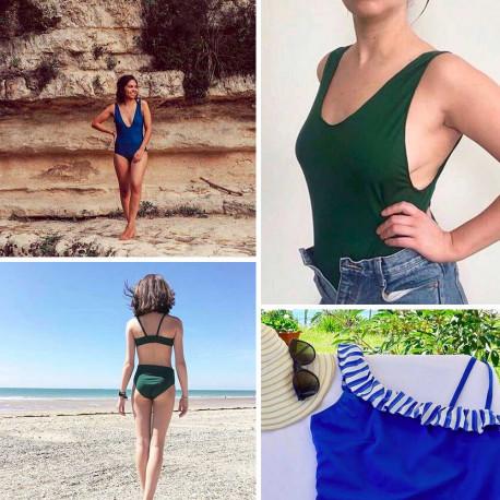 Tissu maillot de bain vert evergreen - mercerie en ligne - pretty mercerie