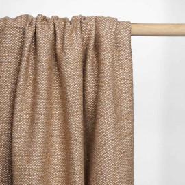 Tissu lainage maille tricoté blanc cassé, daim et fil lurex or | Pretty Mercerie | Mercerie en ligne