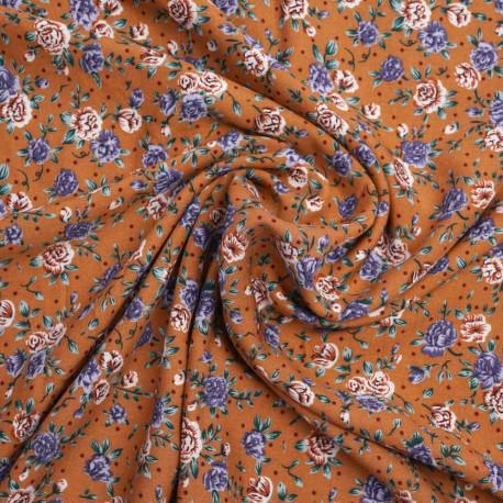 Tissu viscose caramel à motif fleurs des champs | Pretty mercerie | mercerie en ligne