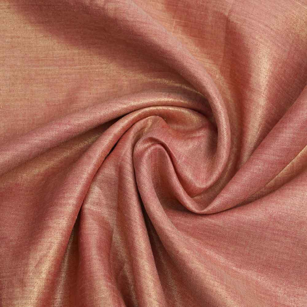 Tissu lin paprika lamé doré | Pretty Mercerie | Mercerie en ligne