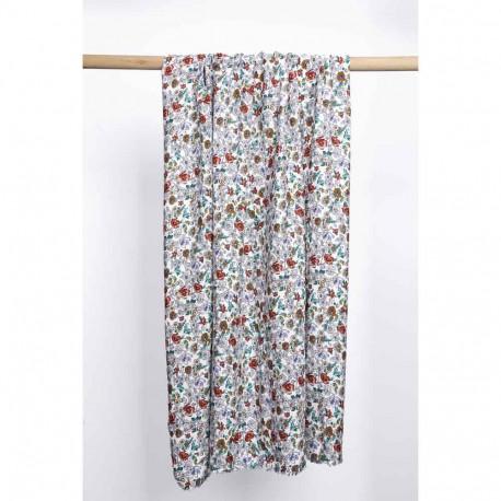 Tissu viscose blanc à motif fleur de prairie moutarde, bleu, brique | Pretty Mercerie | Mercerie en ligne