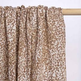 Tissu beige foncé à motif léopard blanc et crème | Pretty Mercerie | mercerie en ligne