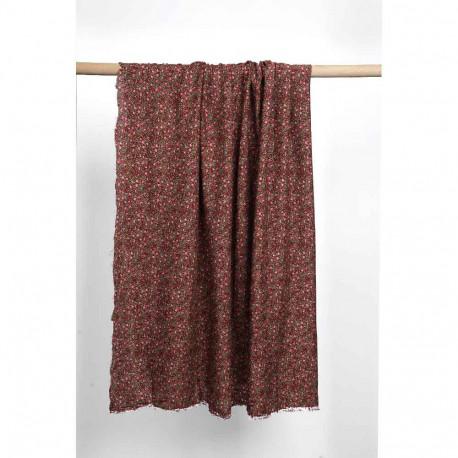 Tissu viscose marron à motif rose et petites étoiles blanches | Pretty Mercerie | Mercerie en ligne