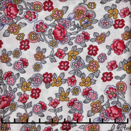 Tissu viscose blanc à motif fleurs gipsy fuchsia moutarde et gris | Pretty Mercerie | Mercerie en ligne