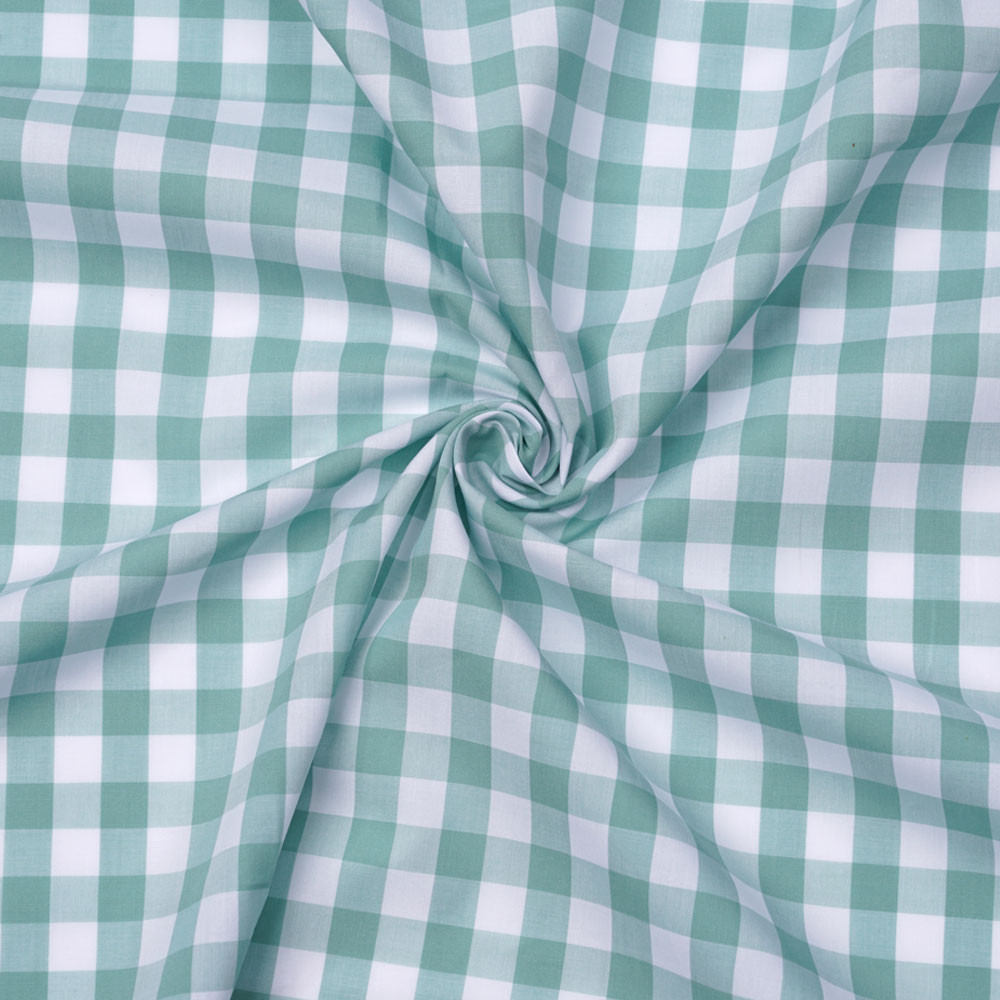 Tissu popeline de coton vichy blanc et vert pastel   Pretty Mercerie   mercerie en ligne