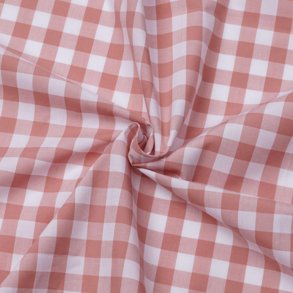 Tissu popeline de coton vichy blanc et rose pastel | Pretty Mercerie | mercerie en ligne