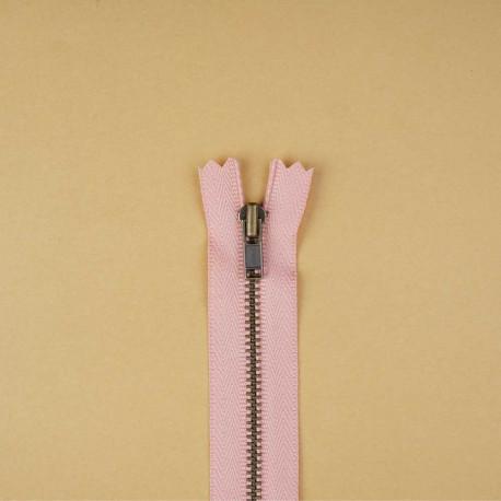 Fermeture éclair non-séparable rose blush 14cm | Pretty mercerie | mercerie en ligne