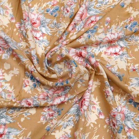 Tissu viscose sable à motif florale rose, rouge et bleu | Pretty Mercerie | Mercerie en ligne