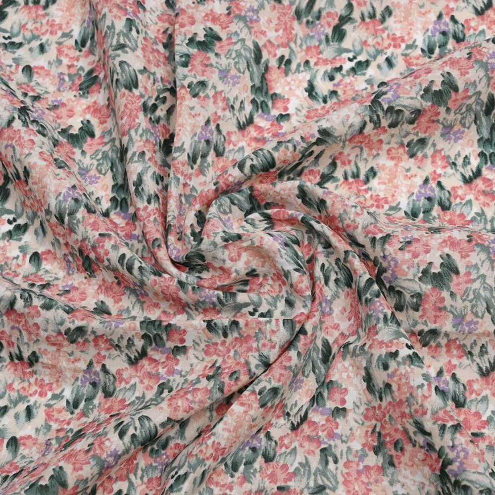 Tissu coton birch à motif bloom rose corail, mauve et vert| Pretty Mercerie | Mercerie en ligne