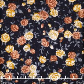 Tissu viscose bleu nuit à motif petite rose moutarde, bleu et orange  | Pretty Mercerie | Mercerie en ligne