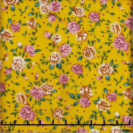 Tissu viscose petite rose vieux rose, orange et vert  | Pretty Mercerie | Mercerie en ligne
