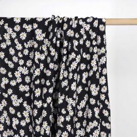 Tissu viscose noir à motif daisy blanc et moutarde   Pretty mercerie   mercerie en ligne
