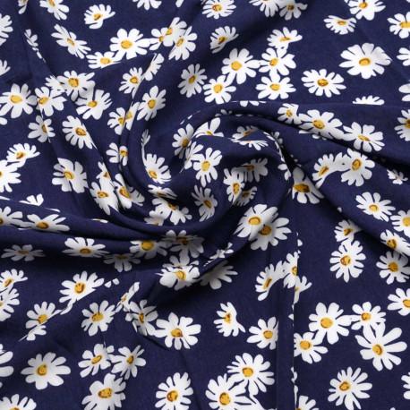 Tissu viscose bleu Twilight à motif daisy blanc et moutarde | Pretty mercerie | mercerie en ligne