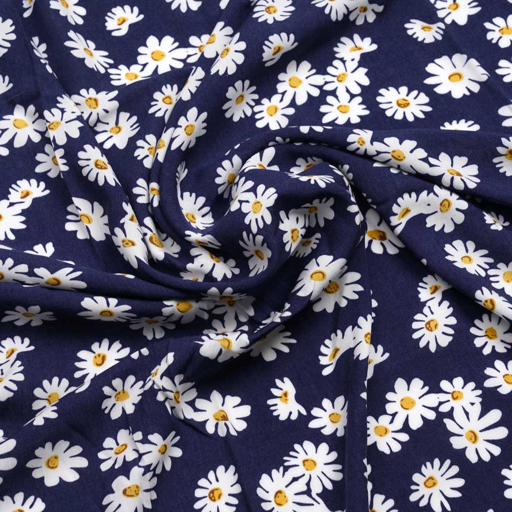Tissu viscose noir à motif daisy blanc et moutarde | Pretty mercerie | mercerie en ligne