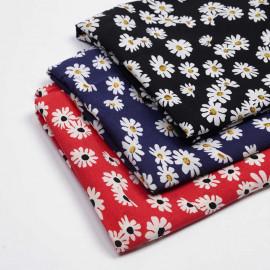 Tissu viscose noir à motif daisy blanc et noir | Pretty mercerie | mercerie en ligne
