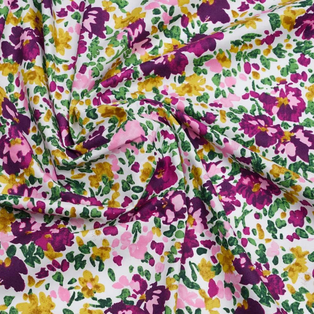 Tissu coton blanc à motif bouquet de fleur violet, vert, ocre et rose| Pretty Mercerie | Mercerie en ligne