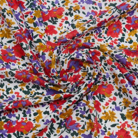 Tissu coton blanc à motif bouquet de fleur rouge, moutarde, vert et lavande| Pretty Mercerie | Mercerie en ligne