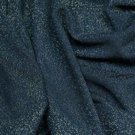 Tissu maillot de bain bleu canard fil lurex or - Pretty mercerie - mercerie en ligne