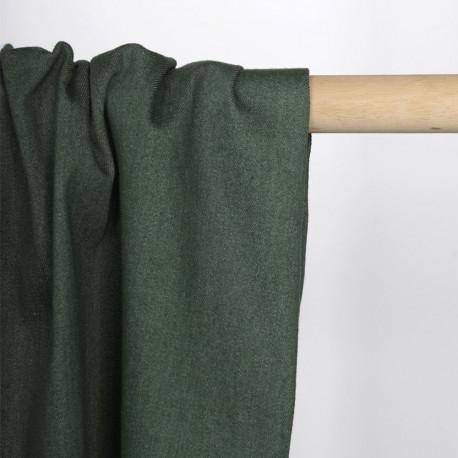 Tissu toile denim stretch vert cyprès   pretty mercerie   mercerie en ligne