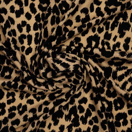 Tissu viscose beige à motif léopard noir | Pretty Mercerie | Mercerie en ligne