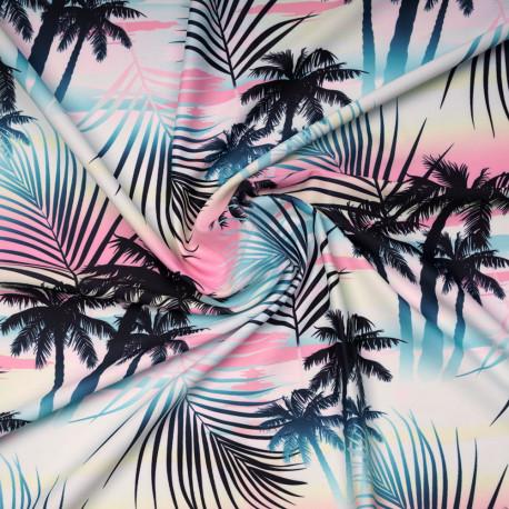 Tissu maillot de bain california rose pastel à motif palmier tie and dye | Pretty Mercerie | Mercerie en ligne