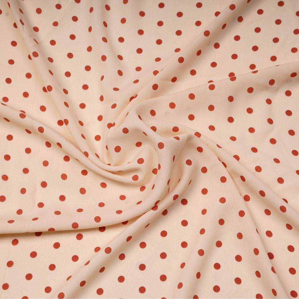 Tissu crêpe rose champagne à motif pois ginger | Pretty Mercerie | Mercerie en ligne