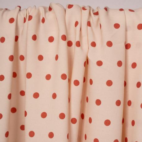 Tissu rose champagne à motif pois ginger | Pretty Mercerie | Mercerie en ligne