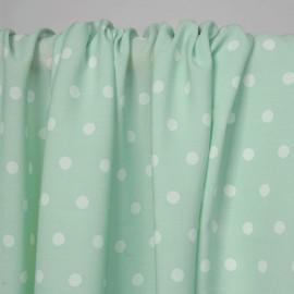 Tissu crêpe vert pastel à motif pois blanc   Pretty Mercerie   Mercerie en ligne