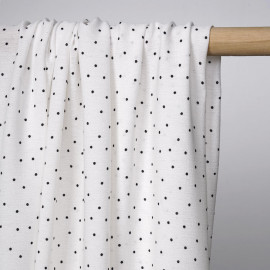 Tissu viscose blanc à motif petit pois noir | Pretty Mercerie | mercerie en ligne