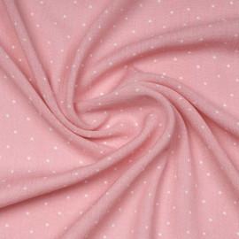 Tissu viscose rose à motif petit pois blanc | Pretty Mercerie | mercerie en ligne