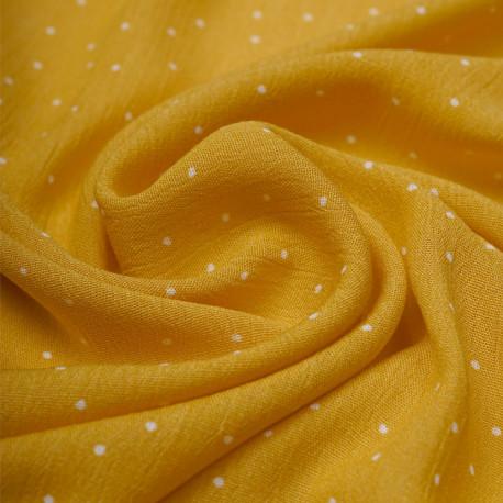 Tissu viscose mimosa à motif petit pois blanc   Pretty Mercerie   mercerie en ligne
