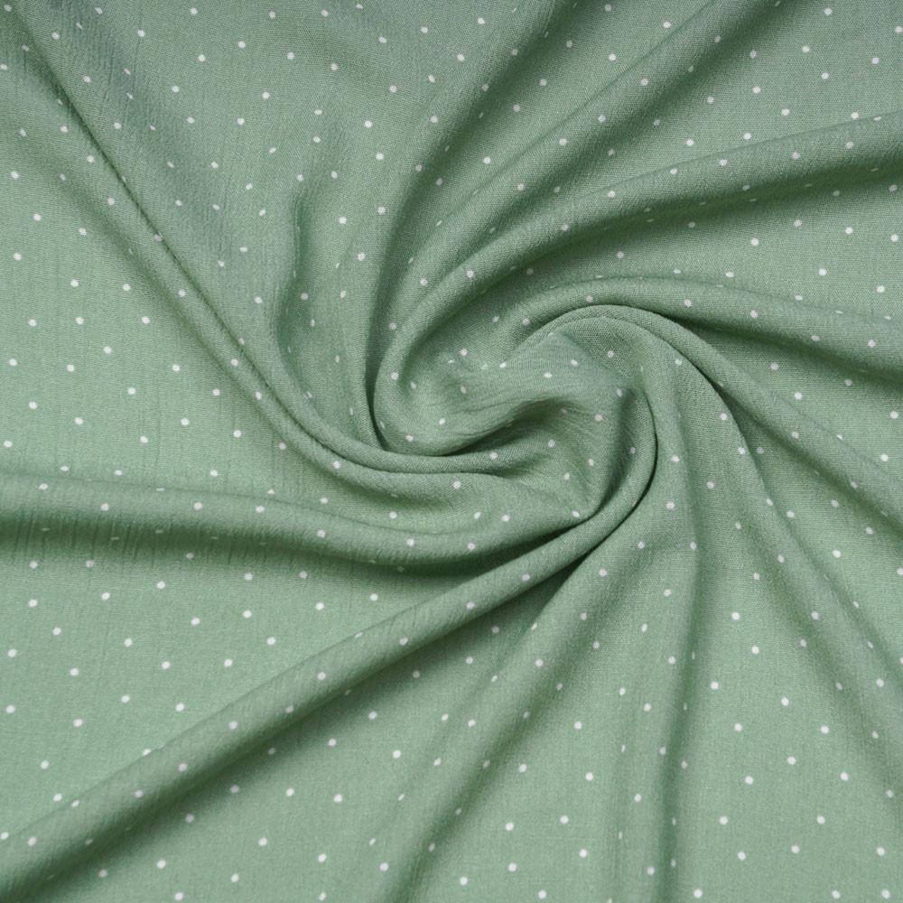 Tissu viscose vert sauge à motif petit pois blanc | Pretty Mercerie | mercerie en ligne