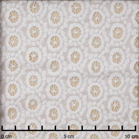 Tissu coton brodé blanc à motif graphique | Pretty Mercerie | mercerie en ligne