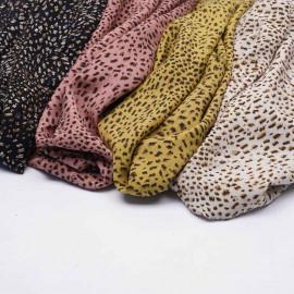 Tissu viscose terracotta à motif léopard chocolat et noir   Pretty mercerie   mercerie en ligne