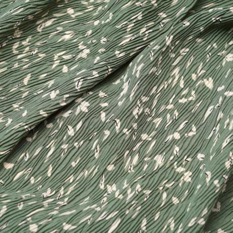 Tissu plissé vert kashmir à motif feuille crème et noir | Pretty Mercerie | mercerie en ligne
