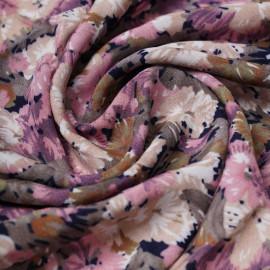 Tissu viscose bloom bleu marine à motif fleurie rose, kaki et beige   Pretty Mercerie   mercerie en ligne