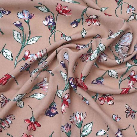 Tissu viscose toasted almond à motif fleurie rose, vert et rouge | Pretty Mercerie | mercerie en ligne