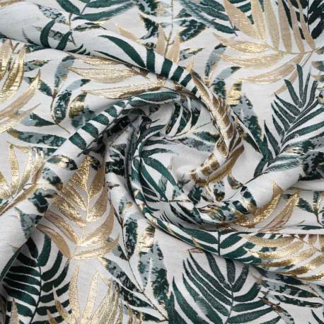 jacquard crème à motif tissé palme, doré et vert   Pretty Mercerie   mercerie en ligne
