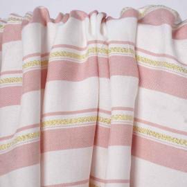 Tissu viscose blanc à motif rayé rose et or   pretty mercerie   mercerie en ligne