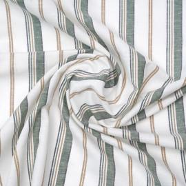 Tissu lin blanc cassé blanc à motif rayé vert, beige et bleu | Pretty Mercerie | mercerie en ligne