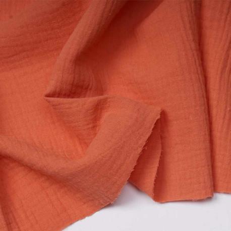 tissu double gaze de coton corail sucré | Pretty Mercerie | mercerie en ligne