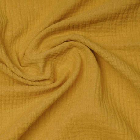 tissu double gaze de coton lemon curry | Pretty Mercerie | mercerie en ligne