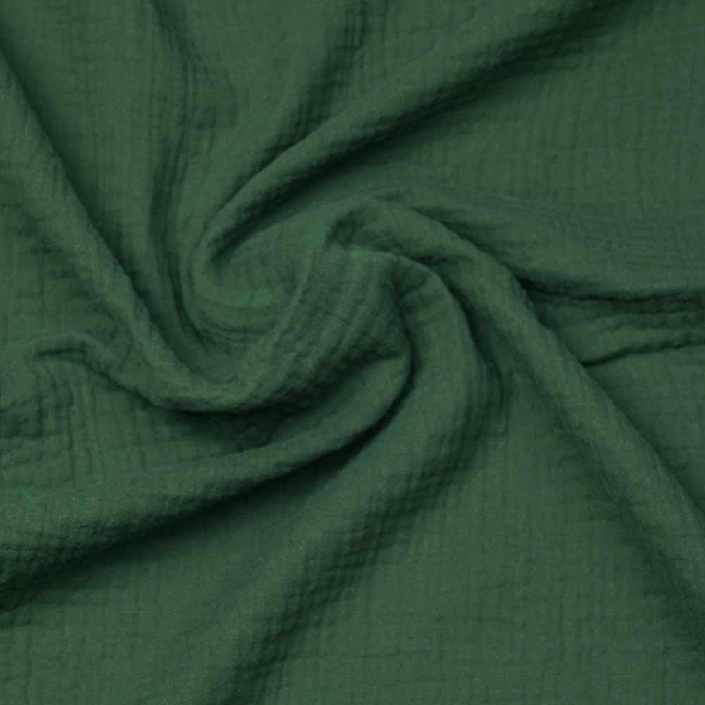 tissu double gaze de coton vert myrthe | Pretty Mercerie | mercerie en ligne