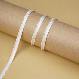 passepoil blanc cassé tressé de fils dorés | Pretty Mercerie | mercerie en ligne