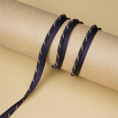 passepoil bleu marine tressé fil or | Pretty Mercerie | mercerie en ligne