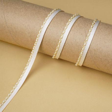 passepoil blanc cassé torsadé fils dorés | Pretty Mercerie | mercerie en ligne