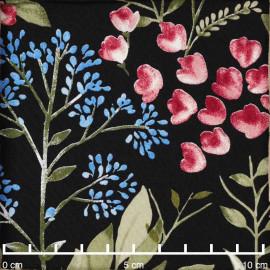 Tissu viscose noir à motif branche fleurie rose, vert et bleu / Pretty Mercerie / mercerie en ligne