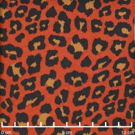 Tissu viscose orange rust à motif léopard noir et caramel  Pretty Mercerie   mercerie en ligne