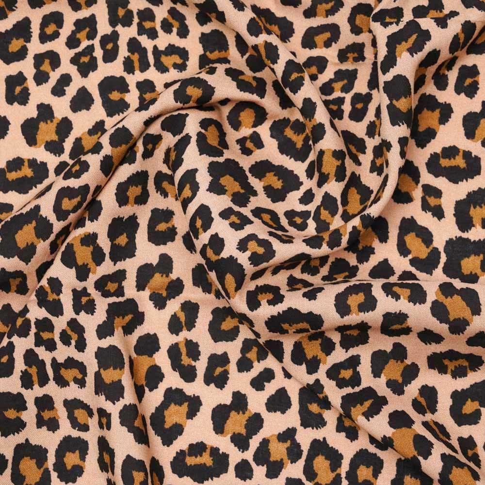 Tissu viscose beige à motif léopard noir et caramel |Pretty Mercerie | mercerie en ligne